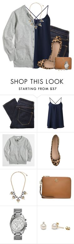 """J.crew cardigan, navy camisole & leopard flats"" by steffiestaffie ❤ liked on Polyvore featuring Marc by Marc Jacobs, Amour Vert, J.Crew, Accessorize, Tory Burch, Michael Kors, women's clothing, women, female and woman"