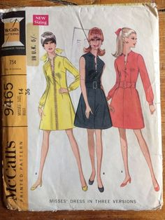 Vintage 1960s McCalls Misses Dress Sewing Pattern No.9465 Size 14 in Crafts, Sewing, Sewing Patterns | eBay!