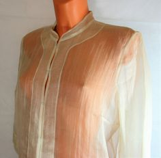 Marks & Spencer cream very sexy sheer 100% silk blouse top UK 16 R15364 #style #fashion #love #woman #chic #follow #eBay #clothing #sangriasuzie