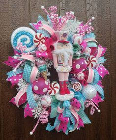 Candy Land Christmas, Christmas Mesh Wreaths, Candy Christmas Decorations, Whimsical Christmas, Pink Christmas, Christmas Themes, Holiday Crafts, Christmas Ornaments, Christmas Garden