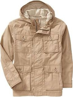 To remind myself of the jacket Lucas wants! Boys Hooded Military-Style Canvas Jackets | Old Navy