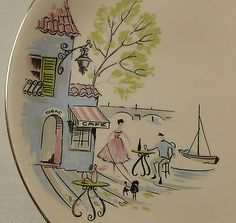 "3 x Alfred Meakin Pottery - Down by the Seine pattern 1950s 8"" plates"