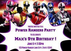 Birthday Power Rangers Ninja Steel Birthday Party Invitations, Power Rangers Invitation for all Power Ranger Party, Power Ranger Birthday, Baby Shower Invitation Templates, Invitation Card Design, Kids Birthday Party Invitations, Birthday Party Themes, Birthday Ideas, Wedding Invitations, Power Rangers Invitations