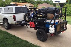 Here is a nice example of a Utility Trailer based two-tier rack storage approach you could making using our No Weld Trailer Rack System. This would give plenty of organized storage and room for bikes and kayaks. Photo by Blake Lipscomb https://compact-camping-concepts-2.myshopify.com/collections/trailer-racks/products/no-weld-trailer-racks