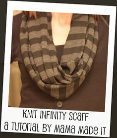 Mama Made It   DIY infinity scarf tutorial  Echarpe, Tricot, Guide Pour cd0aa310746