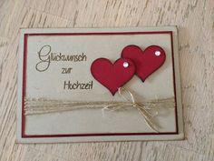 Stempellicht: Hochzeitskarte mit Herzen