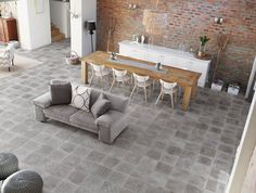 Living and Dining space design with Atelier tile collection from Sintesi Ceramica. Screed Floors, Flooring, Interior Design Living Room, Living Room Designs, Concrete Look Tile, Background Tile, House Tiles, Interior Photo, Loft Style