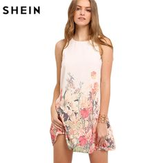 SHEIN Ladies Multicolor Sleeveless Flower Print Boho Dresses New Arrival Womens Summer Round Neck Cut Out Cute Shift Dress