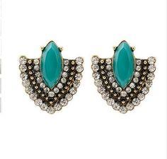 Brincos Vintage Copper Women Green Stone Crystal Zircon Charms Statement Stud…