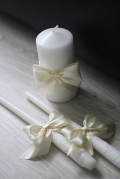 Ivory Wedding Candles Pillar and Stick, Ivory Unity Candles, Handmade Bow Unity Candle, Candles with Ribbon Bow Wedding Unity Candles, Wedding Ceremony Decorations, Church Candles, Pillar Candles, Candle Packaging, Candle Holder Decor, Ivory Wedding, Irish Wedding, Wedding Church