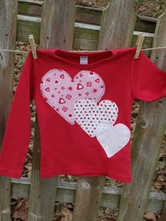 Valentines Day Girls custom tiered hearts applique tee 6-12-18-24 mth 2-3-4-5-6-7-8. $18.00, via Etsy.