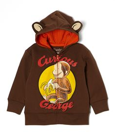 Brown 'Curious George' Ear Zip-Up Hoodie - Toddler