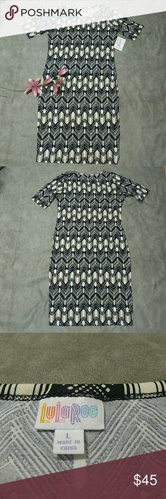 "Lularoe Julia Dress Black Cream Lularoe black and cream Julia dress, size large  pit to pit 20"" waist 18"" hips 20"" length 41"" LuLaRoe Dresses Midi"