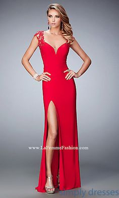 La Femme Open Back Formal Gown with Side Slit