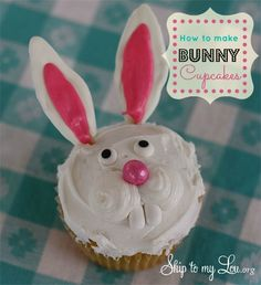 These bunny cupcakes are EASY and will make any Easter Party feel special. www.skiptomylou.org