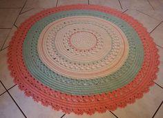 tapete de barbante croche rosa e azul bebe