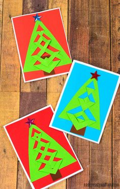 DIY Easy Festive Tree Christmas Card Idea - Easy Peasy and Fun christmas ideas to draw Christmas Art Projects, Christmas Activities For Kids, Christmas Photo Cards, Craft Activities For Kids, Kids Christmas, Handmade Christmas, Holiday Crafts, Winter Activities, Outdoor Christmas