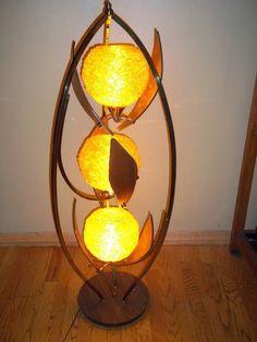 Mid Century Modern Eames Orange Lucite Spaghetti Globe Floor Lamp Wood Leaves