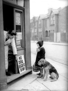 no dog biscuits today - one of several old black and white photos featured