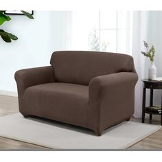 Red Barrel Studio Box Cushion Loveseat Slipcover Upholstery: Brown