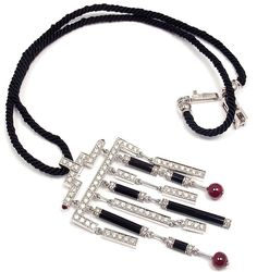 CARTIER Le BAISER DU DRAGON 18K WHITE GOLD DIAMOND RUBY ONYX PENDANT NECKLACE #Cartier #Choker