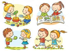 Illustration of Set of four cartoon illustrations with kids' communication and common activities, no gradients vector art, clipart and stock vectors. Art Drawings For Kids, Drawing For Kids, Cute Drawings, Art For Kids, Preschool Art, Preschool Activities, Clipart, Daily Activities, Cute Illustration