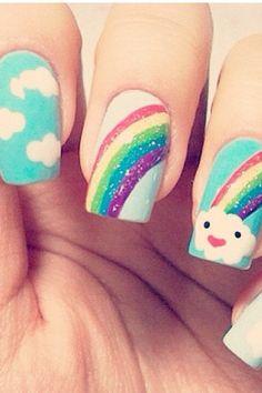 Cutest rainbow nails ever :)