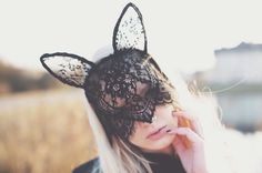 Handmade black lace mask bunny ears cat mask headband vintage editorial french couture flower mysterious sexy masque ball lady gaga rihanna