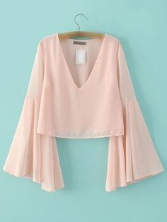 Shop Pink Bell Sleeve V Neck Chiffon Blouse online. SheIn offers Pink Bell Sleeve V Neck Chiffon Blouse & more to fit your fashionable needs. Source by Look Fashion, Hijab Fashion, Fashion Dresses, Womens Fashion, Fashion Design, Ladies Fashion, Street Fashion, Fashion News, Fashion Trends