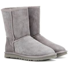 UGG Australia Classic Short Boots ($246) ❤ liked on Polyvore featuring shoes, boots, ankle booties, uggs, botas, grey, gray booties, grey boots, gray short boots and grey bootie