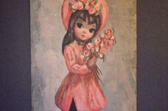 VintageBig Eye Girl in Pink Print by Maio by SherwoodVintage