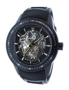 Maserati R8821110001 Men's Skeleton Watch Automatic Movement Black Leather Strap