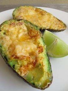Grilled Avocado with melted cheese and hot sauce.