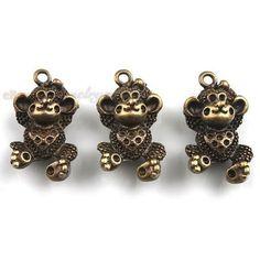 100pcs Antique Bronze Cartoon Animal Monkey Pendants Alloy Jewelry Findings J