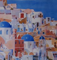 The 2nd watercolor painting of Oia on the Greek island of Santorini.  The original was given as a wedding gift from a bride to her groom...he have her a honeymoon cruise around the Greek isles. Sweet!