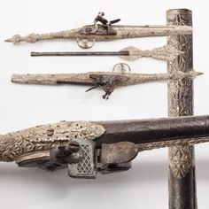 Turkish/Balkan Rat-tail Pistols- Possibly made for an Eastern potentate, this silver-mounted pair of pistols magically resists tarnishing. While the iron barrels on this pair have had issues with corrosion over the years, they provide cathodic protection for the silver components. In chemical terms, the less noble of the two conjoined metals corrodes for both. For those that want more than just two shots, the ramrod for this pair also conceals a stiletto dagger.