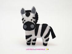 Felt ZEBRA stuffed felt Zebra magnet or ornament Zebra toy