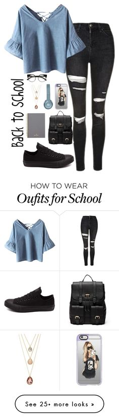 """Back to school"" by musicwildlife on Polyvore featuring Topshop, Chicnova Fashion, Converse, Sole Society, Casetify, Mulberry and Forever 21"