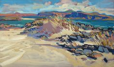 Lachlan Goudie | In The Dunes, Gouache On Board, 58x34.5cm | Detail