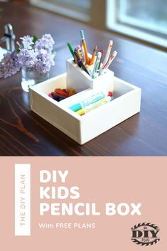 This Pencil Box is a very simple wood project for kids to do at home. I had bunch of scrap plywood laying around from other projects so I decided to do something small and simple that my kids could help with. #diy #project #kids #wood #interior #modern #freeplans