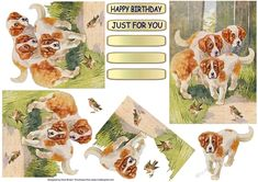 The Puppies Decoupage on Craftsuprint designed by Elizas Emporium - 3 cute puppies watching 2 robins playing. Decoupage with tags - Happy Birthday and Just For You plus 3 blank. - Now available for download!