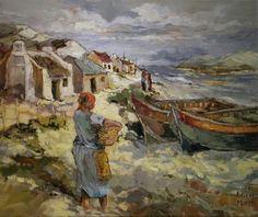 Visserdorpie Watercolor Landscape, Landscape Paintings, Watercolor Paintings, Landscapes, South African Artists, Sea Art, Impressionist Paintings, Paintings I Love, Painting Videos