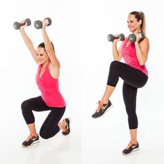 Overhead Split Squat Knee Pull  Begin in a split stance with right leg forward, left heel lifted, holding dumbbells in front of shoulders, elbows bent in by sides, palms facing in. Lower into a split squat, bending knees and pushing hips back, as arms extend overhead. Press back up, bending elbows and lifting left knee up toward chest, balancing on right leg for 1 count. Return to start. Do 10 reps, and then repeat on opposite side.