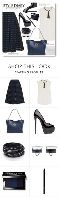 """""""Pleated Skirt & Silk Top"""" by brendariley-1 ❤ liked on Polyvore featuring Erdem, Tory Burch, ADORNIA, Bobbi Brown Cosmetics, NARS Cosmetics, women's clothing, women's fashion, women, female and woman"""