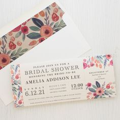Set the tone of your bridal shower with Soft Watercolor, Beacon Lane's floral style invitations with patterned envelope liners specially made for your party