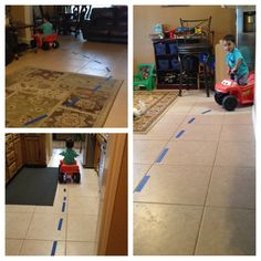 DIY activities for your kids by Brooke. Ways to keep a toddler busy.  Rainy day ideas.  Mess free kid activities.  Fun and cheap activities for kids.  Create an instant indoor race track by using colored masking tape!  www.facebook.com/brookezaragoza1