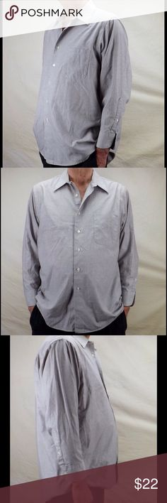 """men's button down shirt long sleeve oxford checked vintage classic small checks single pocket stays in collar 2 button adjustable cuffs 1 button sleeve to cuff placket 2extra buttons on front placket back yoke tails cotton poly blend """"wrinkle free"""" good vintage condition gently/rarely worn size 32/33 waist/hem 54"""" shoulders 20"""" length 30"""" front 34"""" back sleeve 23"""" 10 oz Geoffrey Beene Shirts Casual Button Down Shirts"""