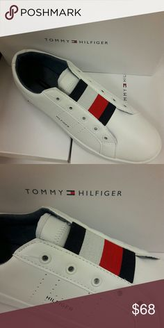 Tommy Hilfiger Tommy Hilfiger women's shoe. No longer reserved for the court, the white sneaker is back and works with everything from vintage jeans to modern suits. We've detailed these with red and blue stripes at the front ? Sneaker silhouette in leather. ? 1'' heel.? ? Cushioned insole, textured rubber outsole.? ? Spot clean.? ? Imported. Tommy Hilfiger Shoes Sneakers