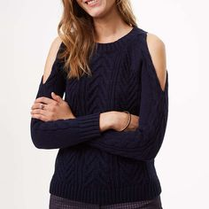 Rank & Style - Loft Cold Shoulder Cable Sweater #rankandstyle