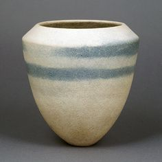 Small Pot by Jennifer Lee (UK) Stoneware, cream body with blue integral spiral below the inverted rim.